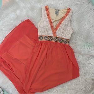 V-neck Coral Maxi Dress